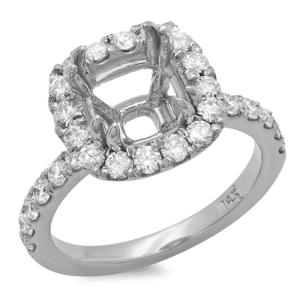14k White gold Engagement semi-mount with 0.99 carat diamonds.