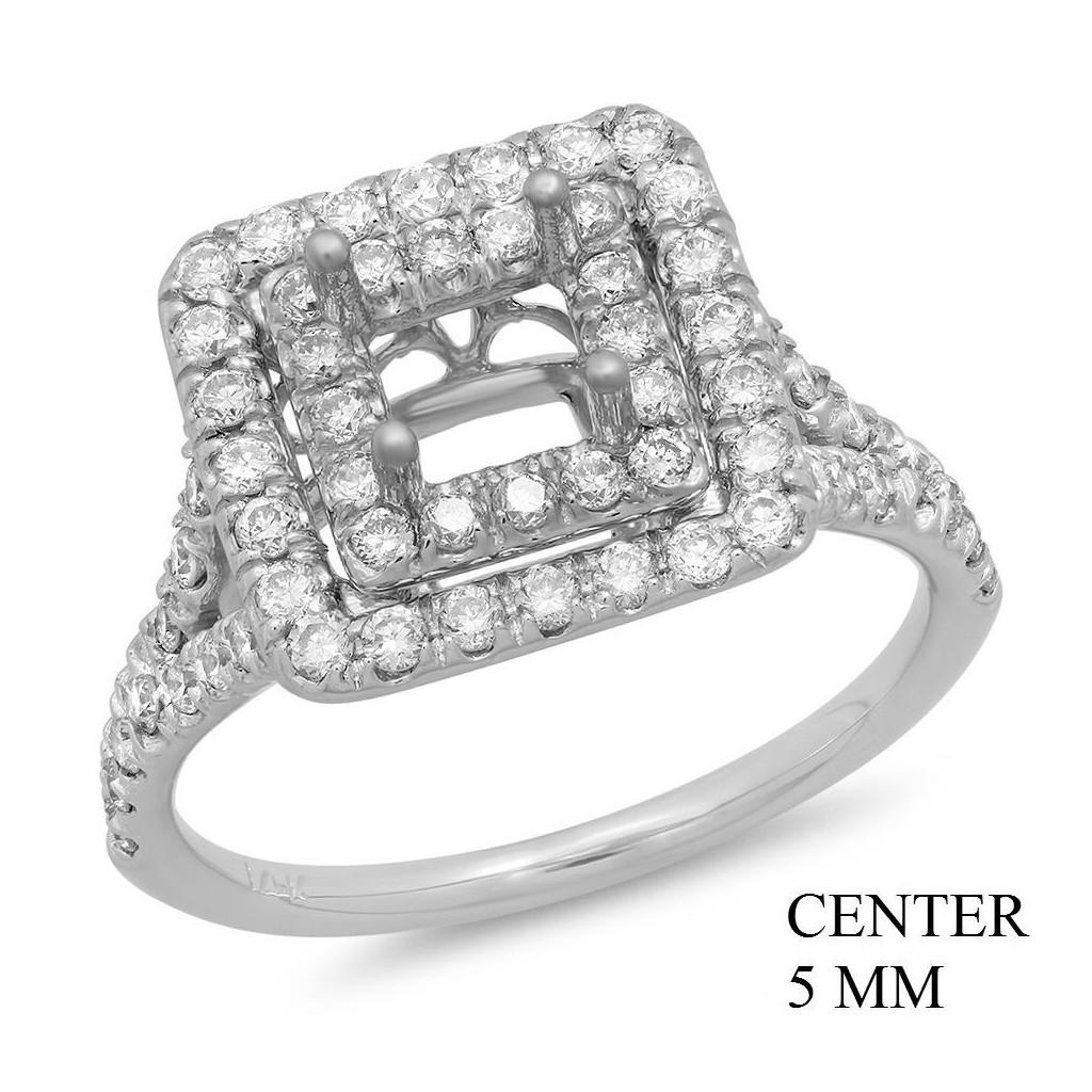 14k White gold Engagement semi-mount with 0.74 carat diamonds.