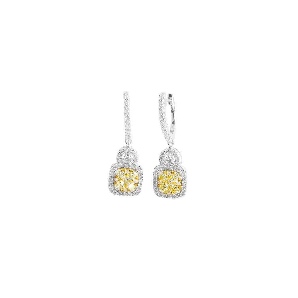 Yellow Diamond Earring with 1.60 Carats