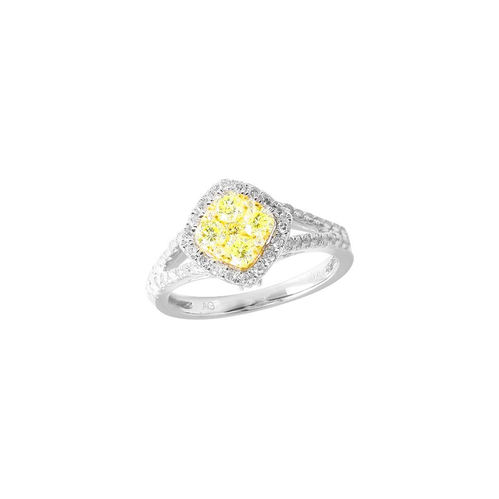 14kw 1.10ctw Fancy Yellow Diamond Ring