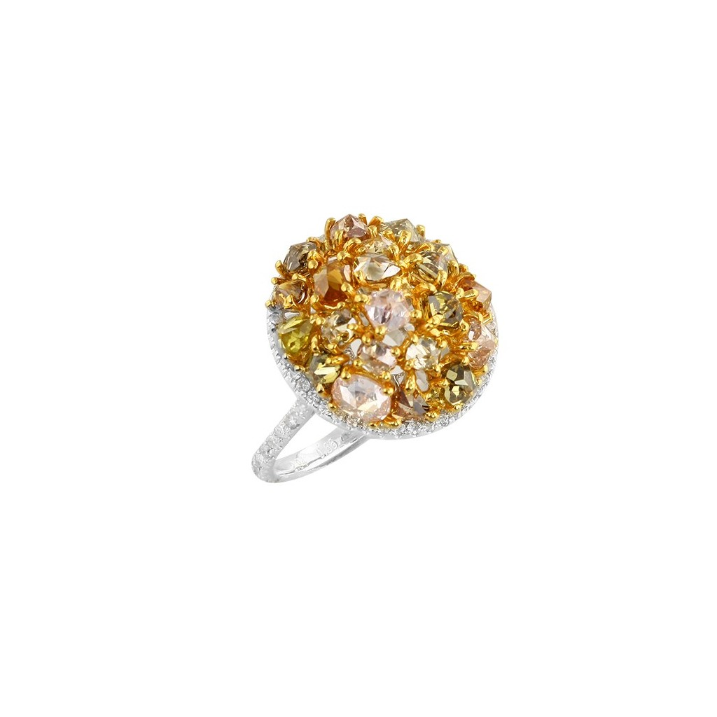 14kw 3.60ctw Fancy Yellow Diamond Ring