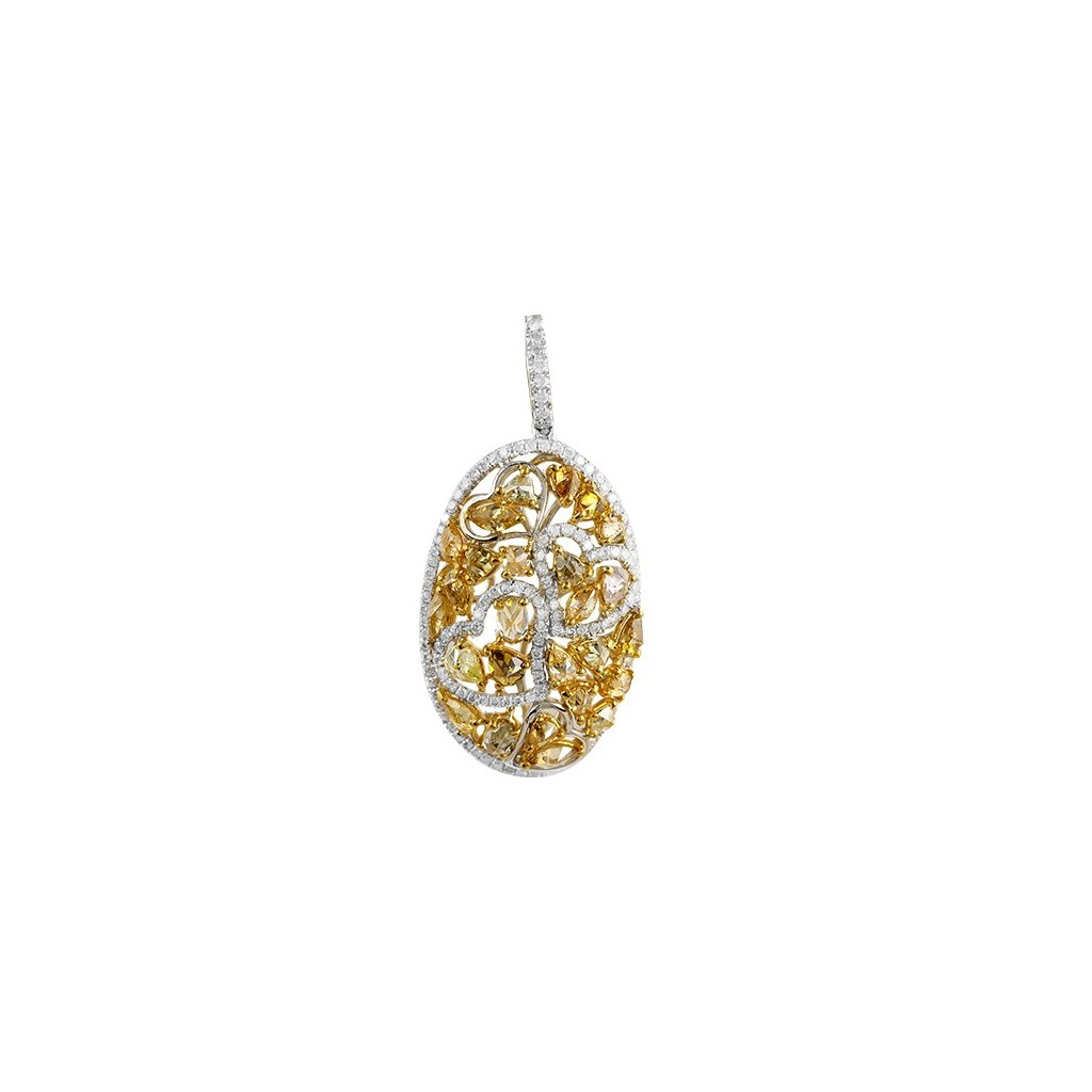 Yellow Diamonds Pendent with 3.15  Carats