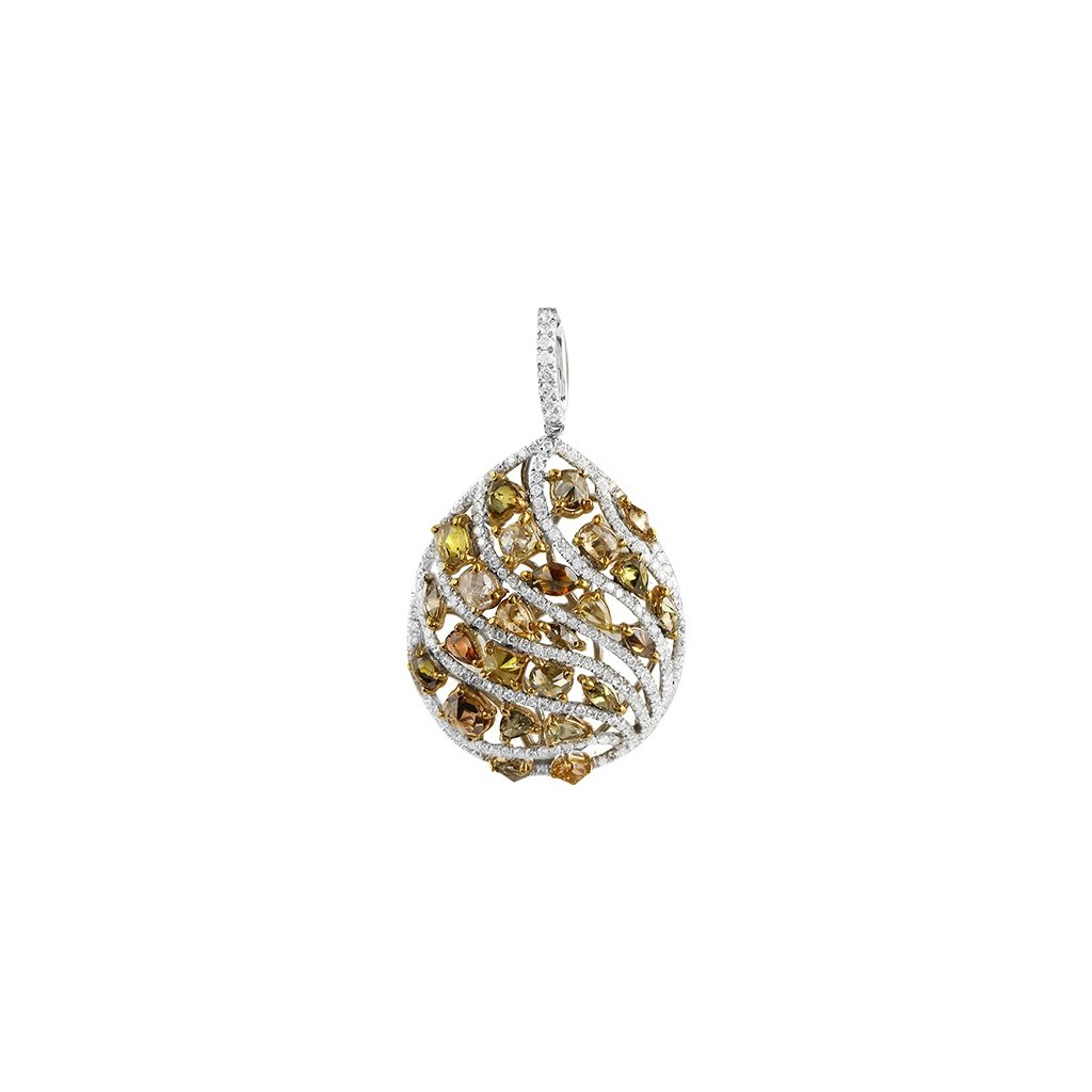 Yellow Diamonds Pendent with 3.75 Carats