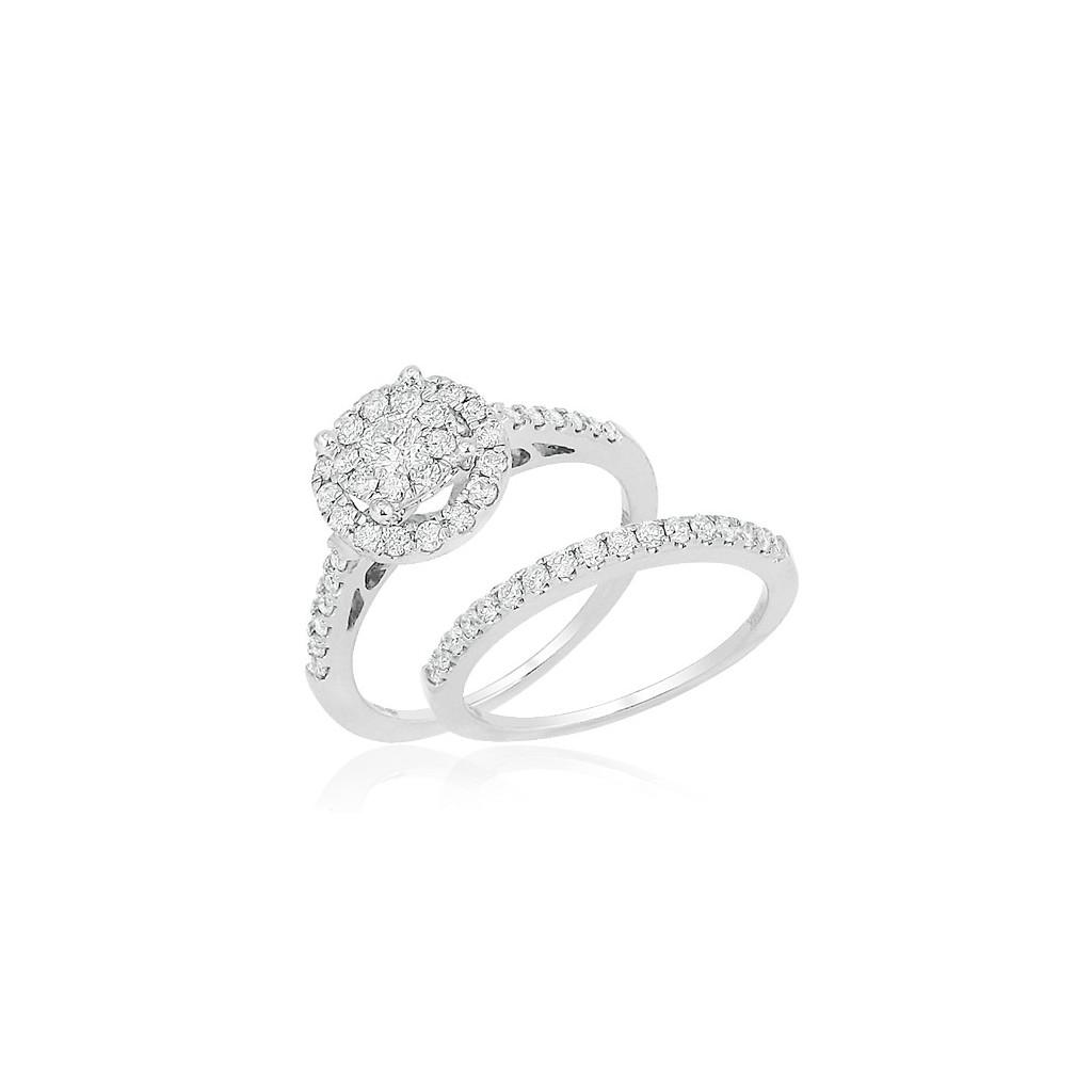 14kw 1.25ctw Diamond Fleur Bridal Set
