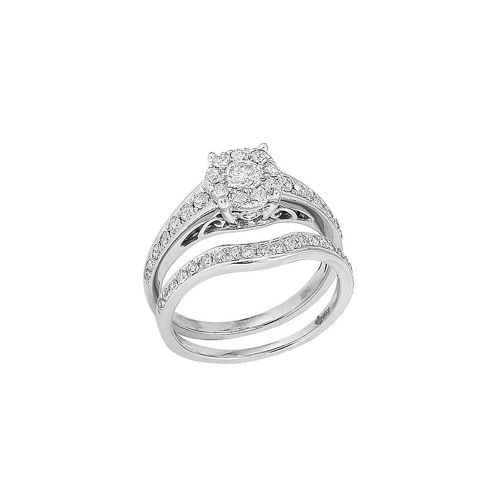 14kw 1.00ctw Diamond Fleur Bridal Set
