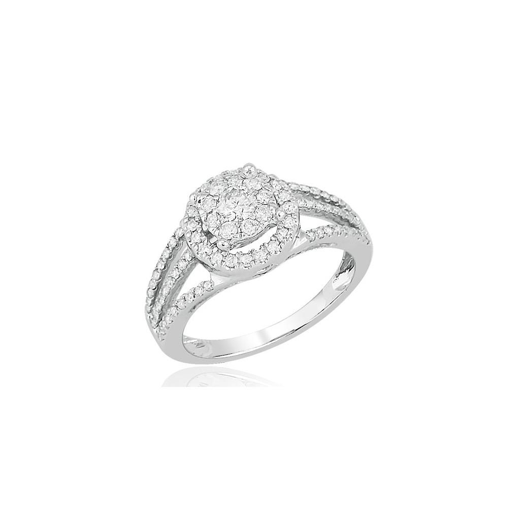 14kw 0.75ctw Diamond Fleur Ring