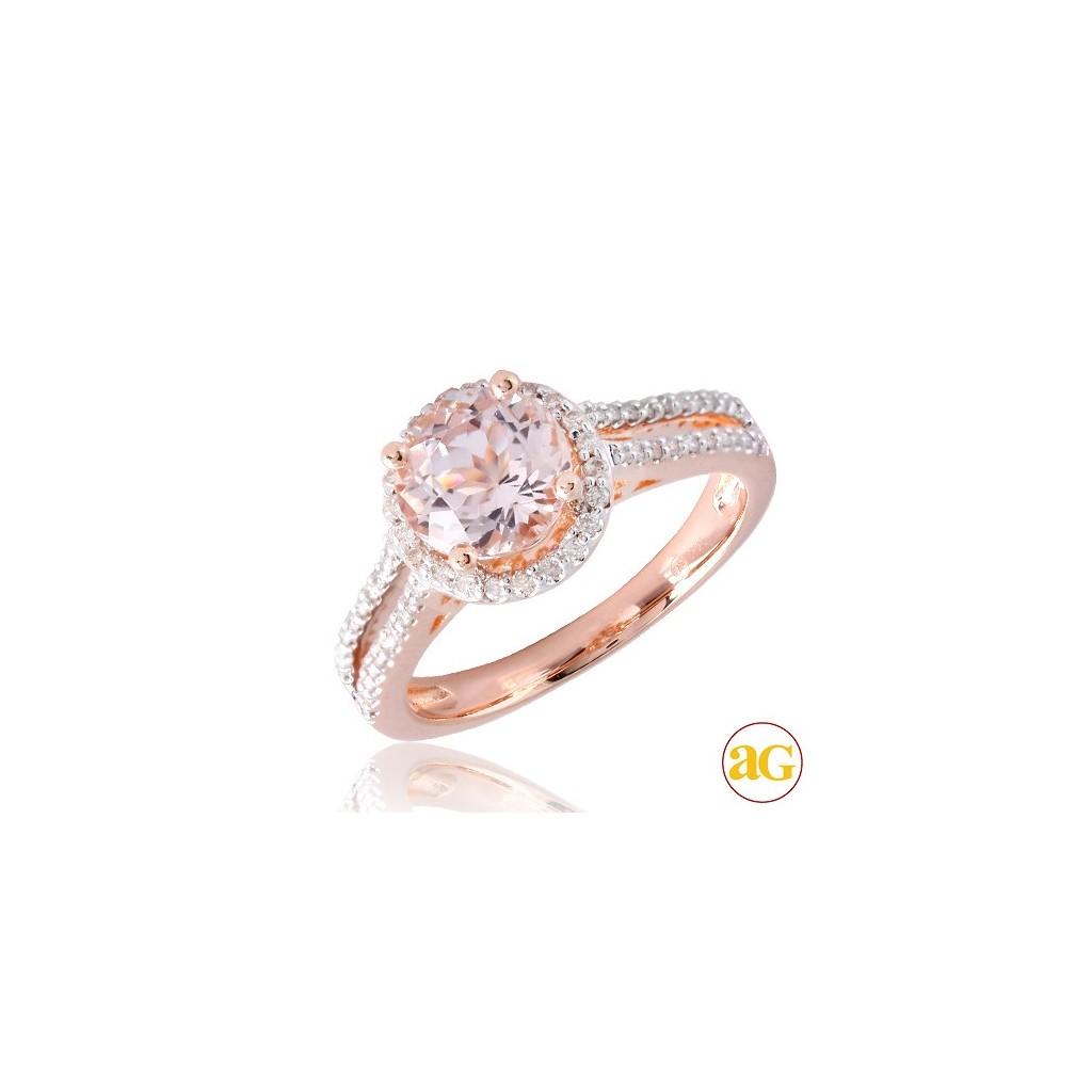 14kr 1.93ctw Diamond and Morganite Ring