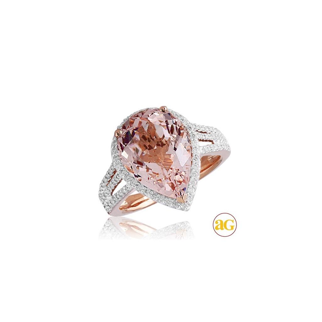 14kr 6.15ctw Diamond And Morganite Ring
