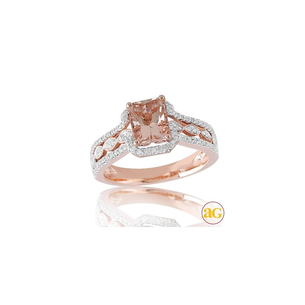 Morganite Diamond Ring with 1.77 Carats