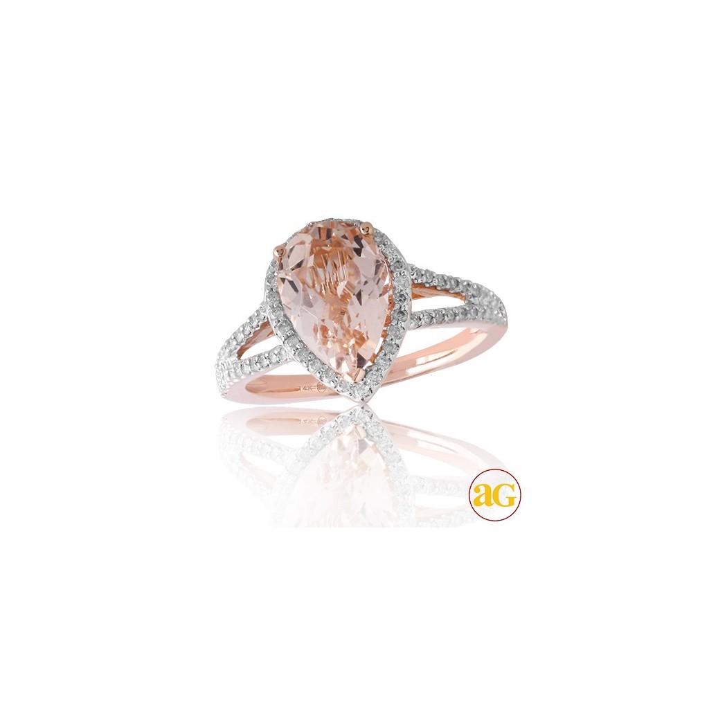 Morganite Diamond Ring with 2.71 Carats