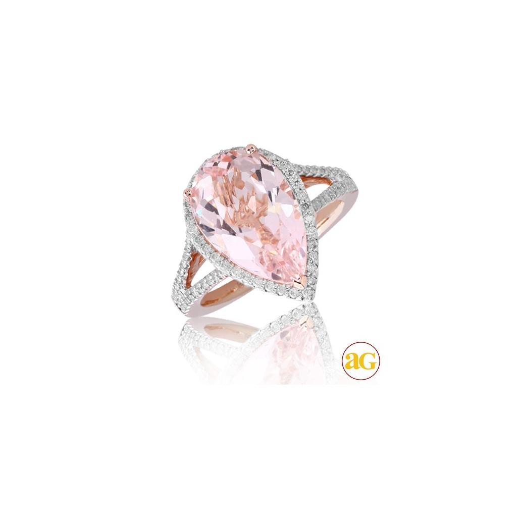 14kr 5.92ctw Diamond and Morganite Ring