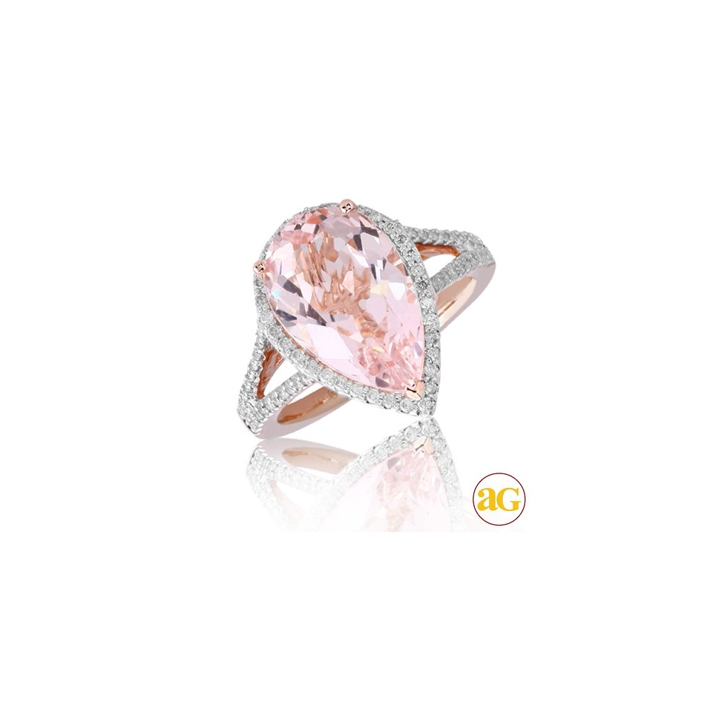 Morganite Diamond Ring with 5.92 Carats