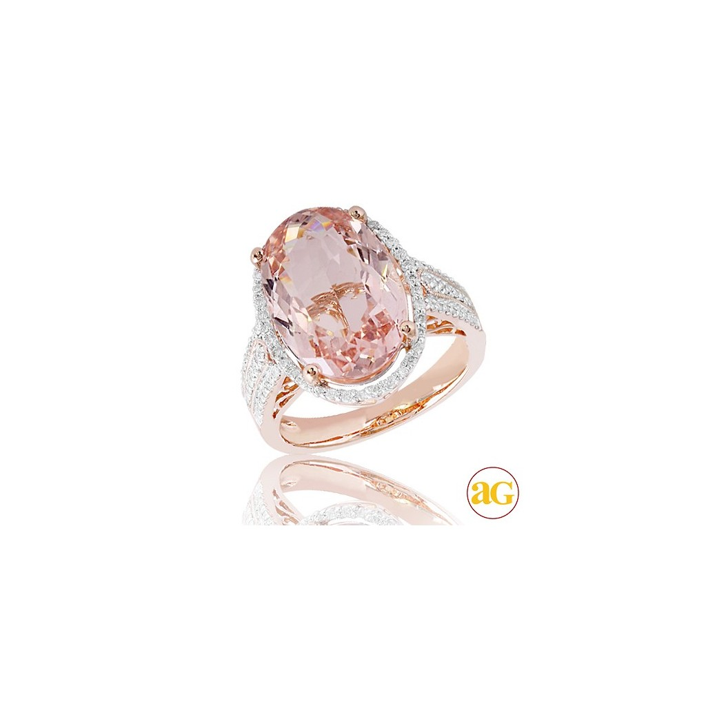 Morganite Diamond Ring with 7.48 Carats