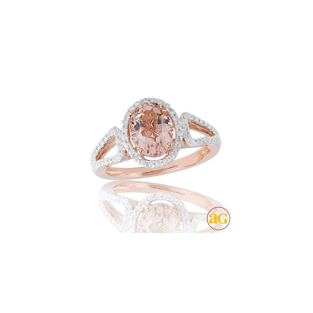 14kr 2.07ctw Diamond and Morganite Ring