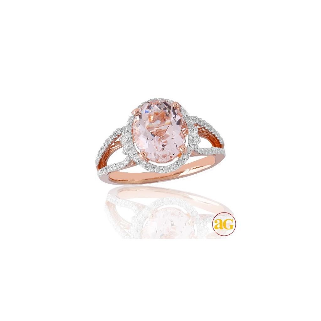 14kr 3.41ctw Diamond and Morganite Ring