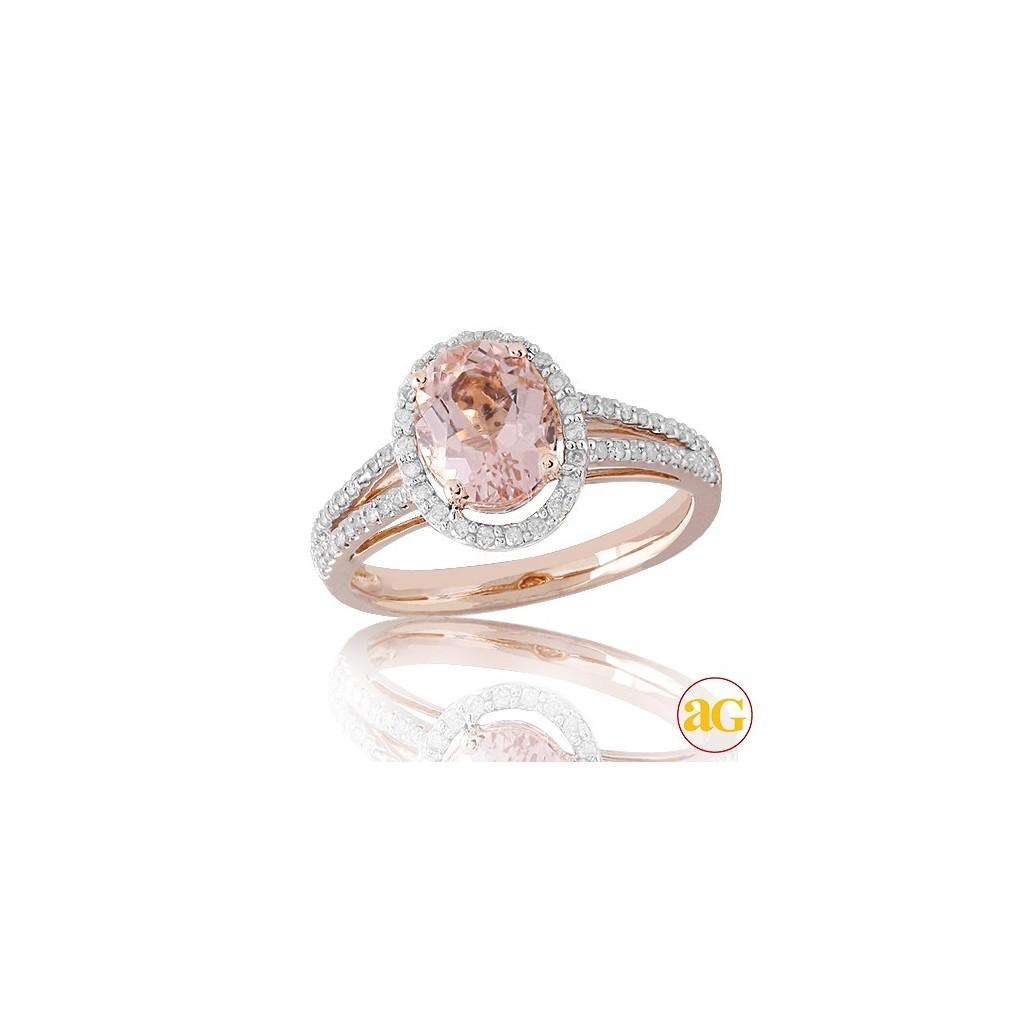 14kr 2.00ctw Diamond and Morganite Ring