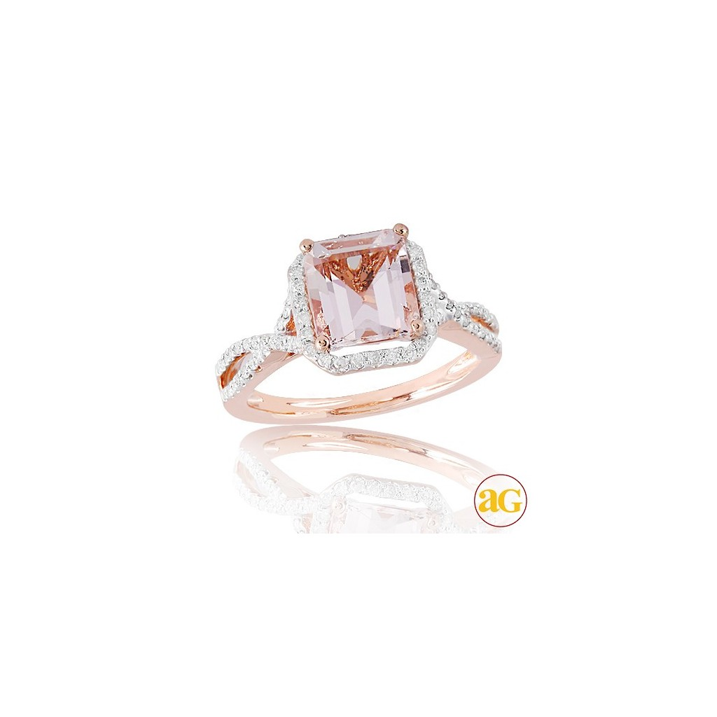Morganite Diamond Ring with 2.42 Carats