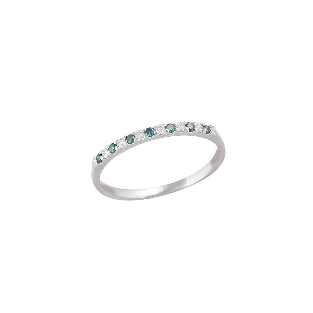 14kw 0.15ctw Blue And White Diamond Band