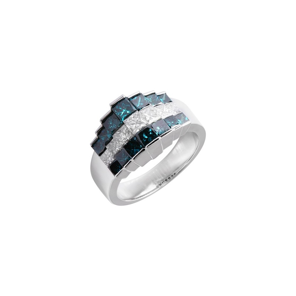14kw 3.00ctw Blue and White Diamond Step Ring
