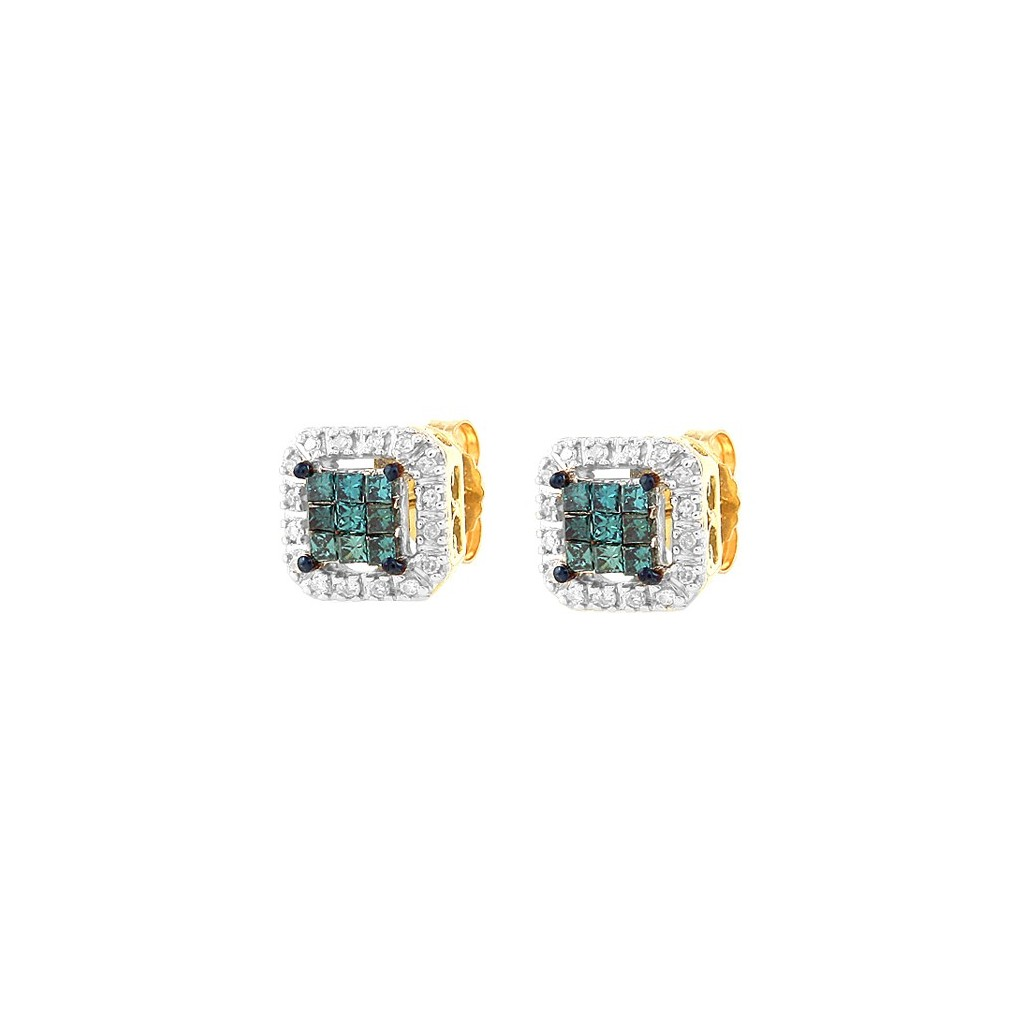 Blue Diamond Earrings with 0.33 Carats