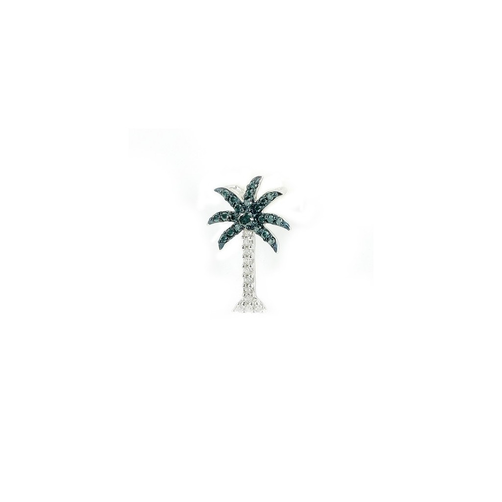 Blue Diamond Palm Tree Pendent with 0.25 Carats