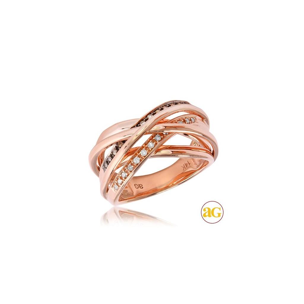 14kr 0.20ctw Champagne Diamond Ring