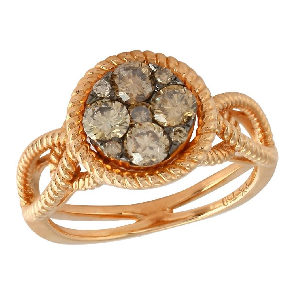 18kr 0.90ctw Champagne Diamond Ring