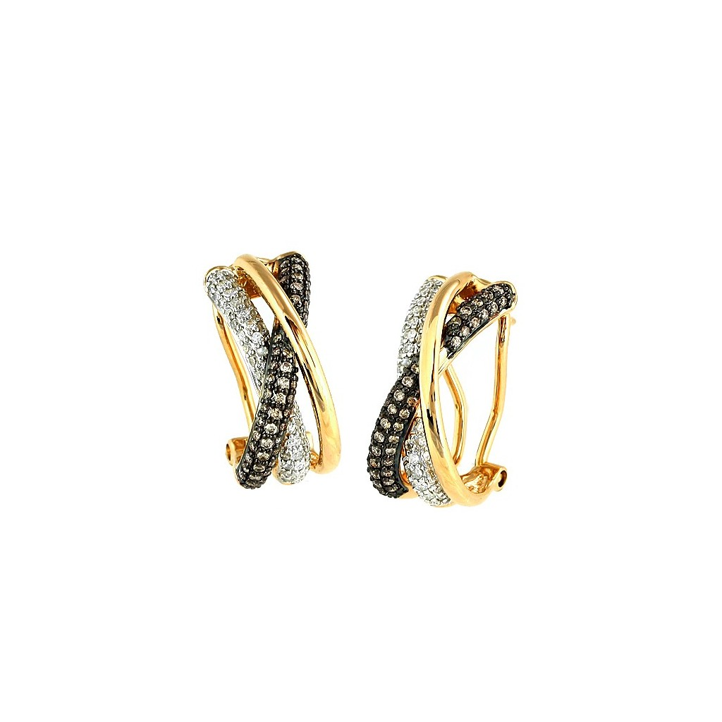 Champagne Diamond Earrings with 0.75 Carats