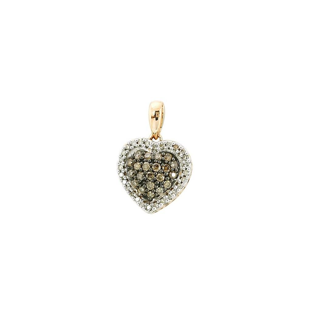14kr 0.33ctw Champagne Diamond Heart Pendant