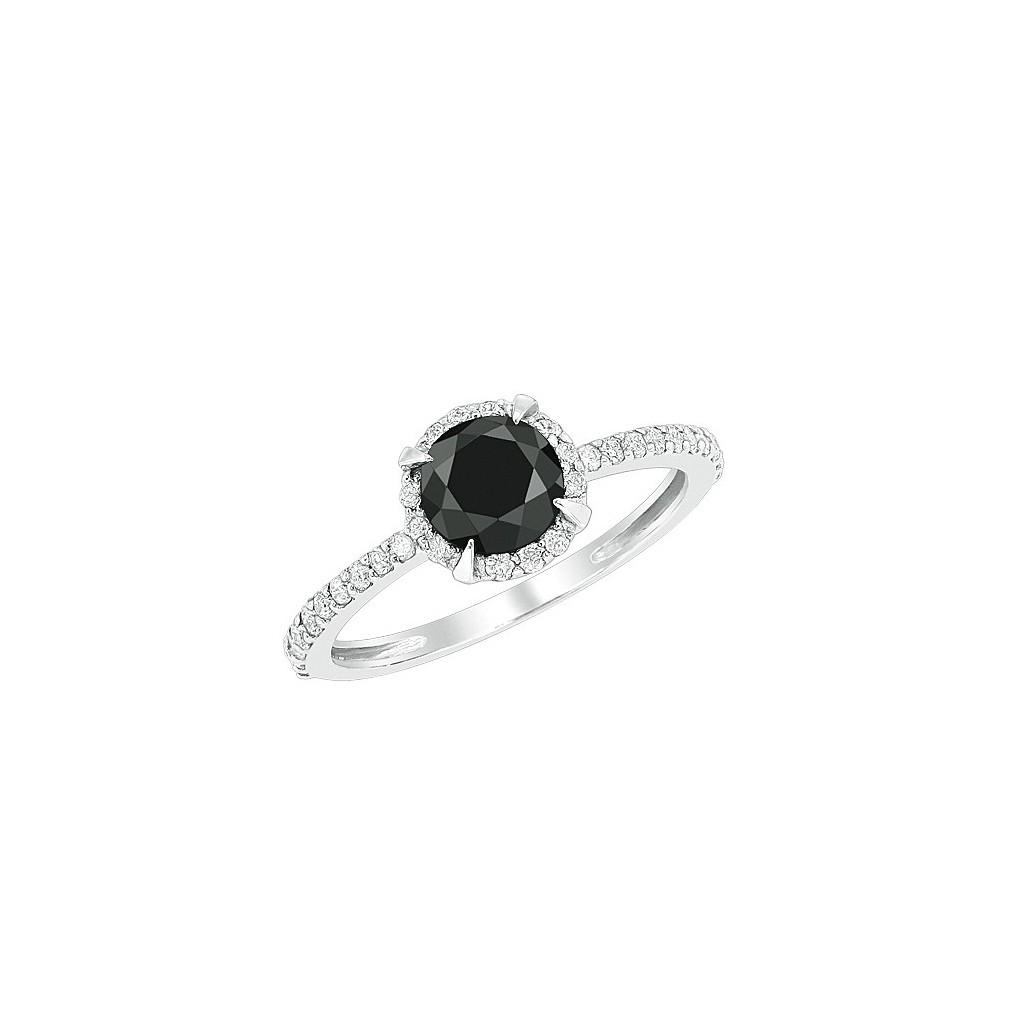 14kw 1.35ctw Black Diamond Ring