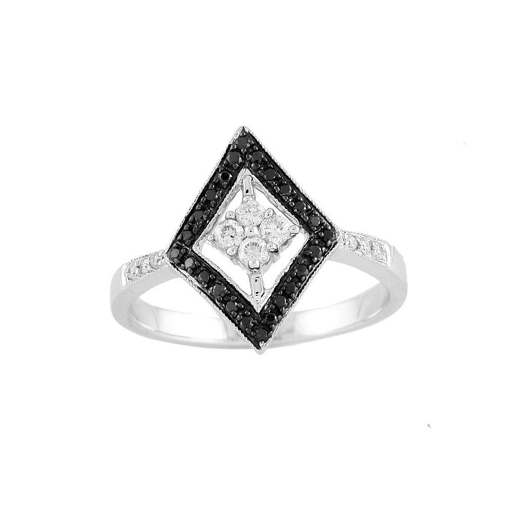 14kw 0.25ctw Black Diamond Ring