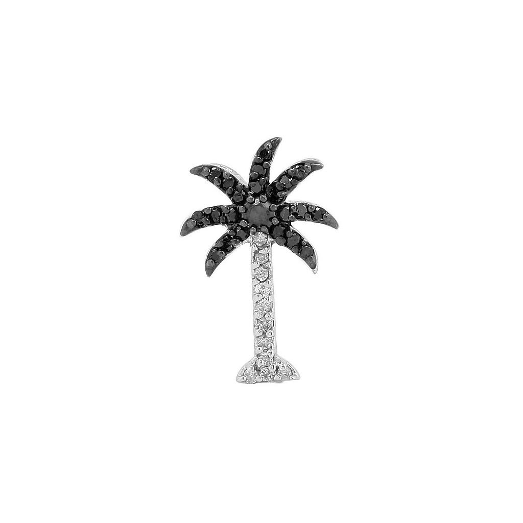 Black Diamond Palm Tree Pendant with 0.25 Carats