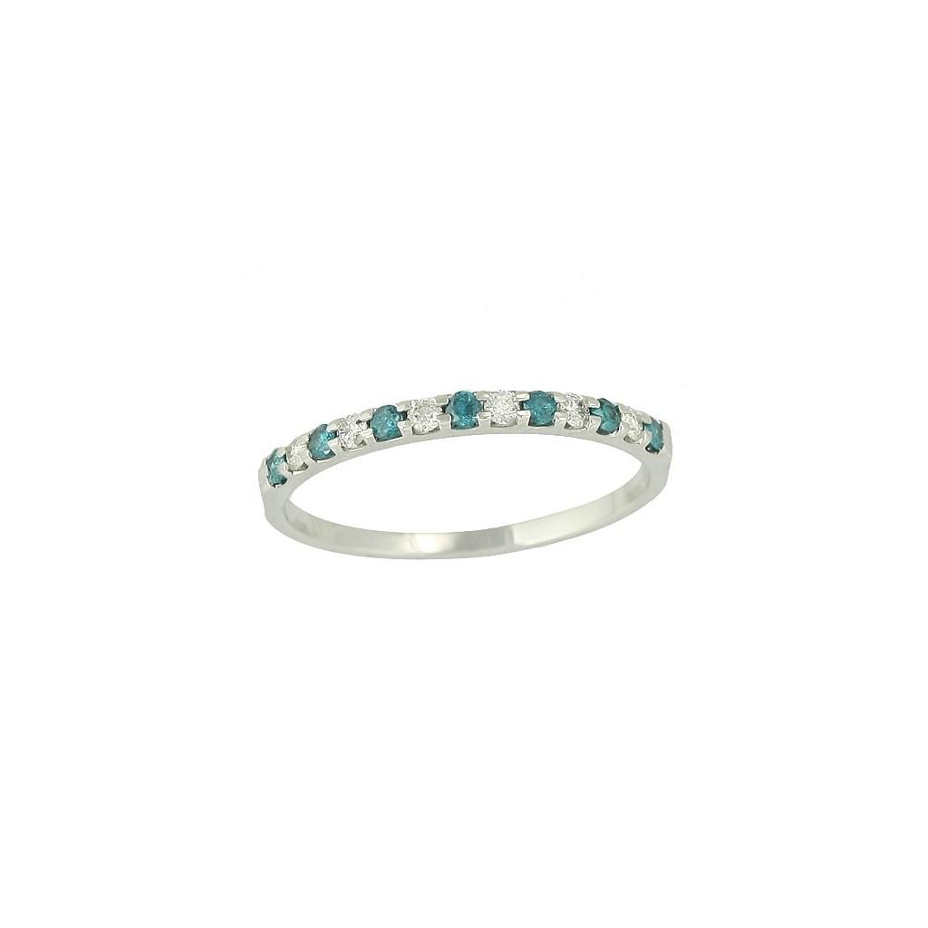 14kw 0.25ctw Blue Diamond Band