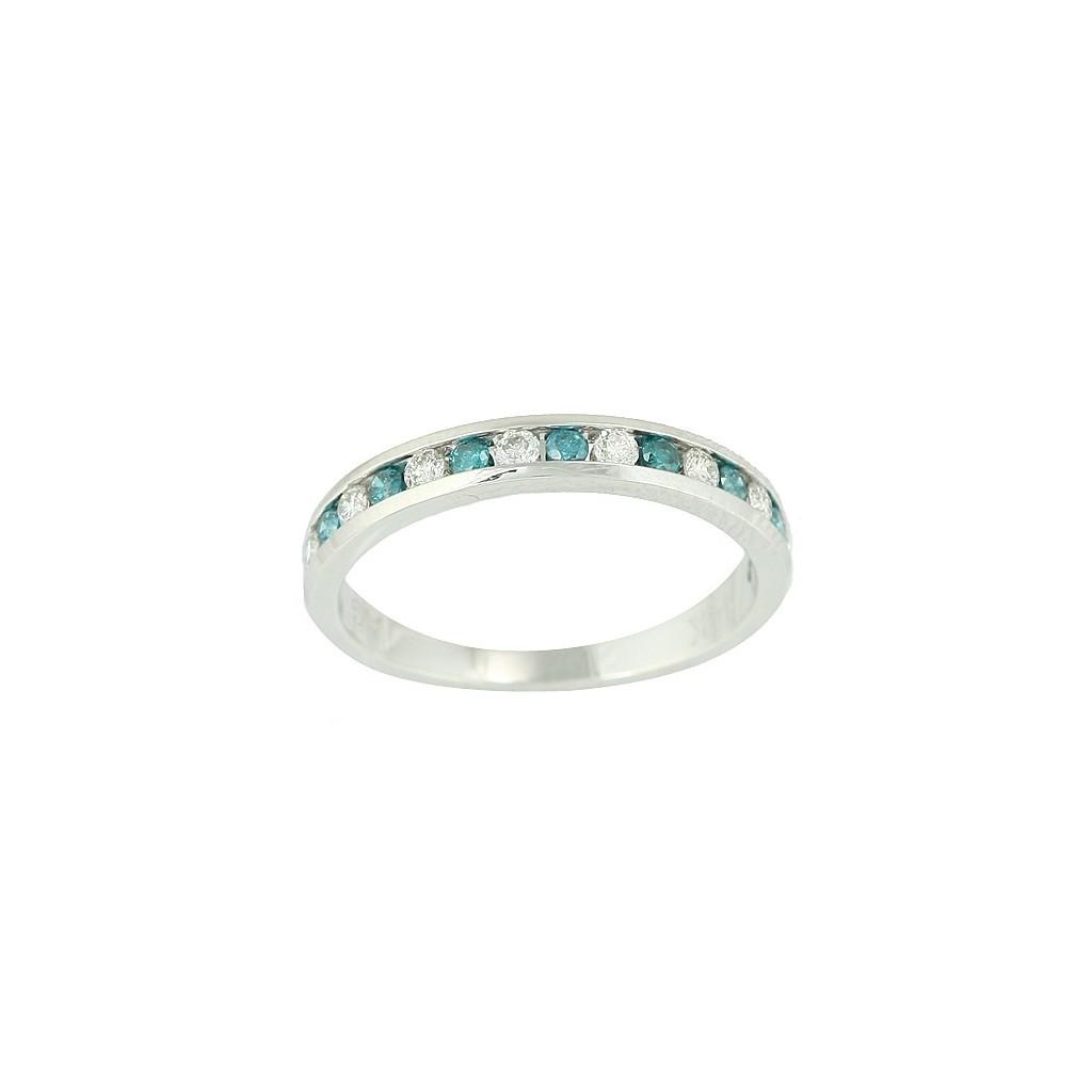 14kw 0.50ctw Blue & White Diamond Band