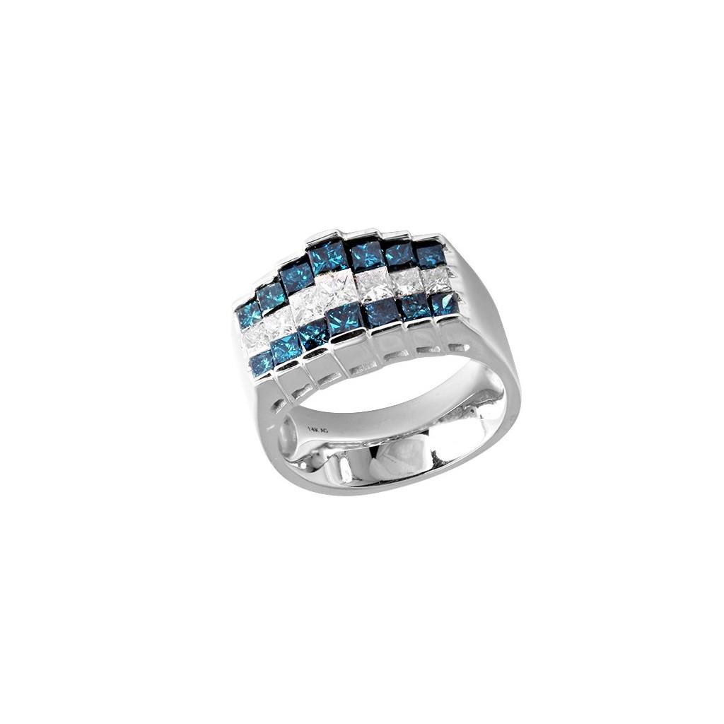 14kw 2.00ctw Blue Diamond Ring