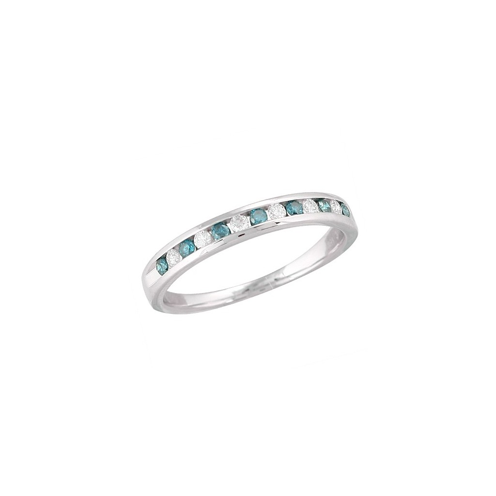 14kw 0.25ctw Blue and White Diamond Band