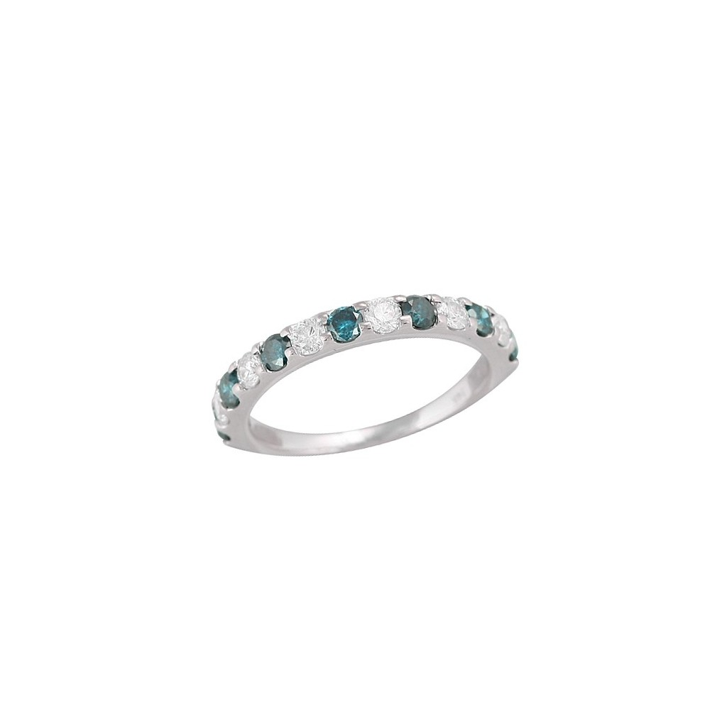 14kw 1.00ctw Blue and White Diamond 13 Stone Band