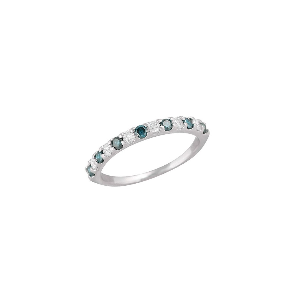 14kw 0.50ctw Blue And White Diamond Band