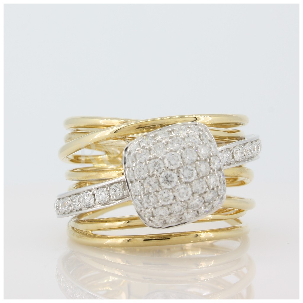 Multiple Band Two Tone Diamond Ring .86 cts