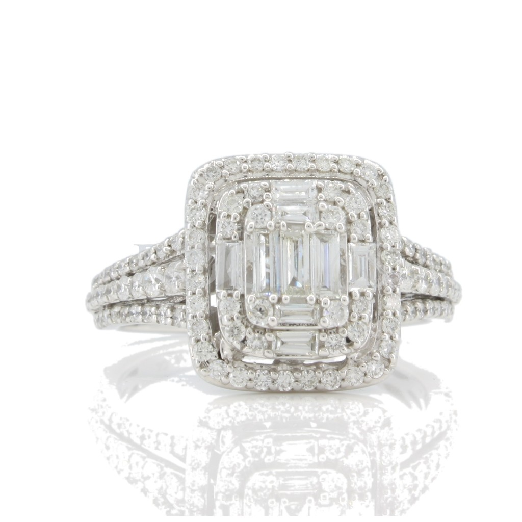 Baguette Diamond Engagement Ring .88cts