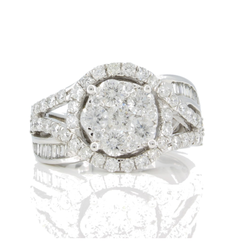 Round and Baguette Ring 1.87 carats