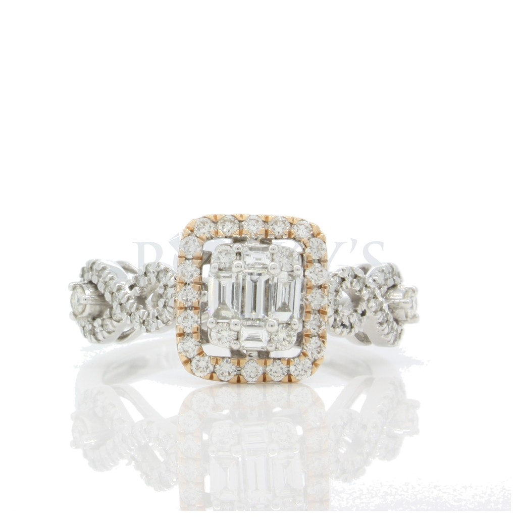 Two-Tone Engagement Ring with 0.85 Carats