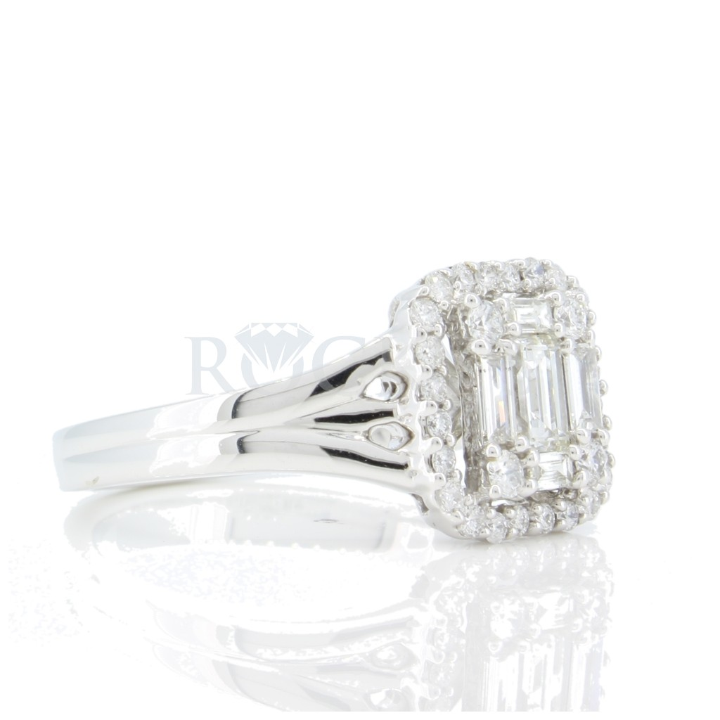 Round and Baguette Diamond Ring .70 carats