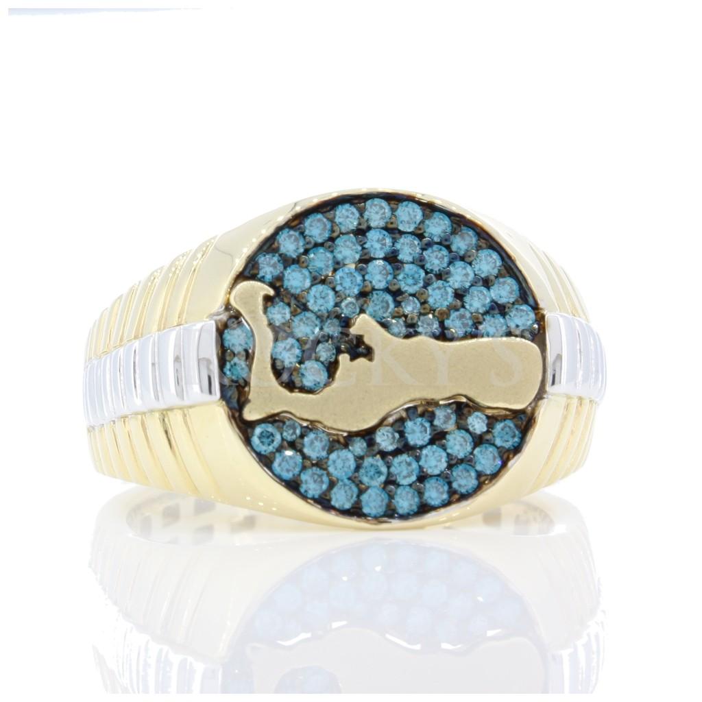 Grand Cayman Men's Blue diamond Ring 0.55 cts