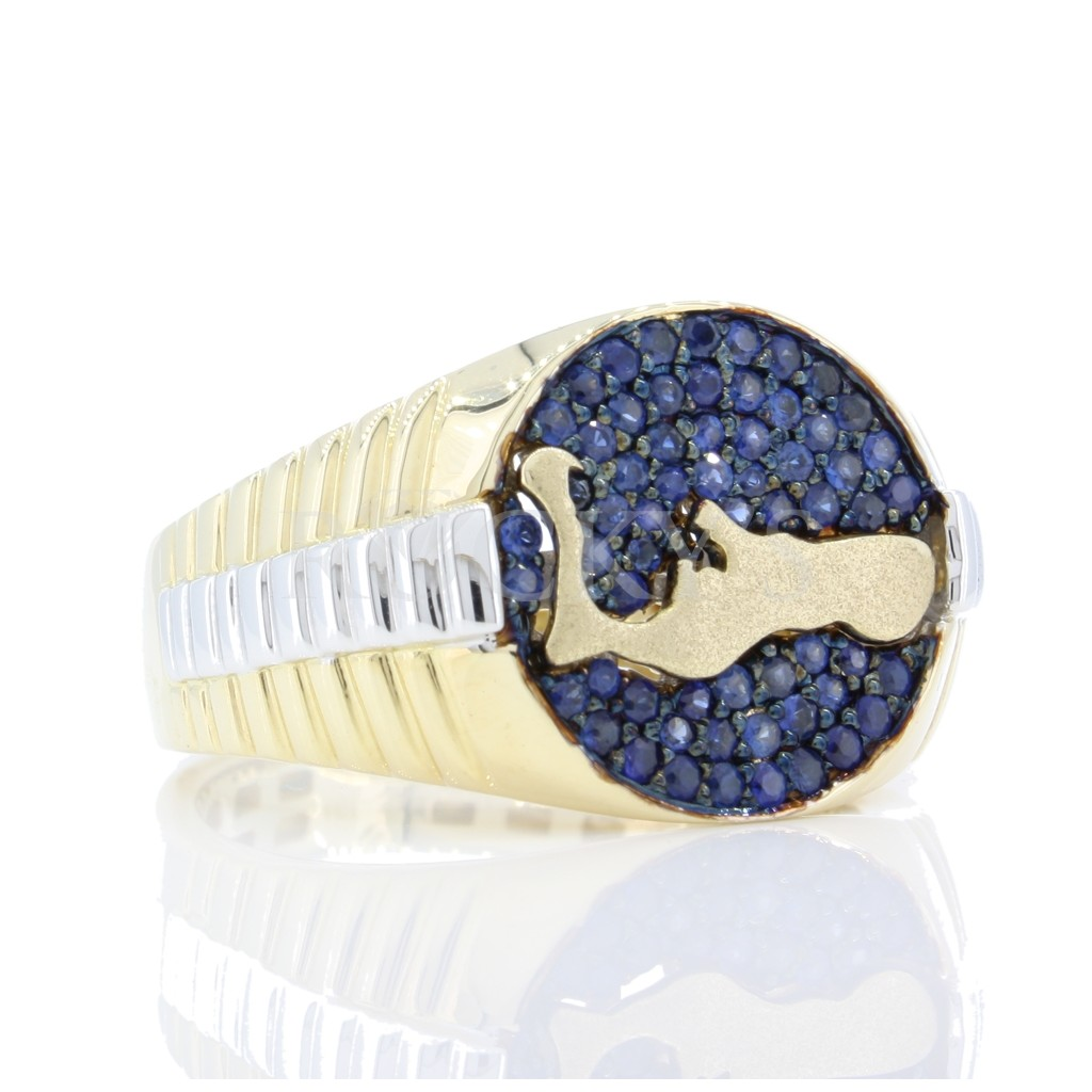 Grand Cayman Men's Blue Sapphire Diamond Ring  .75 cts