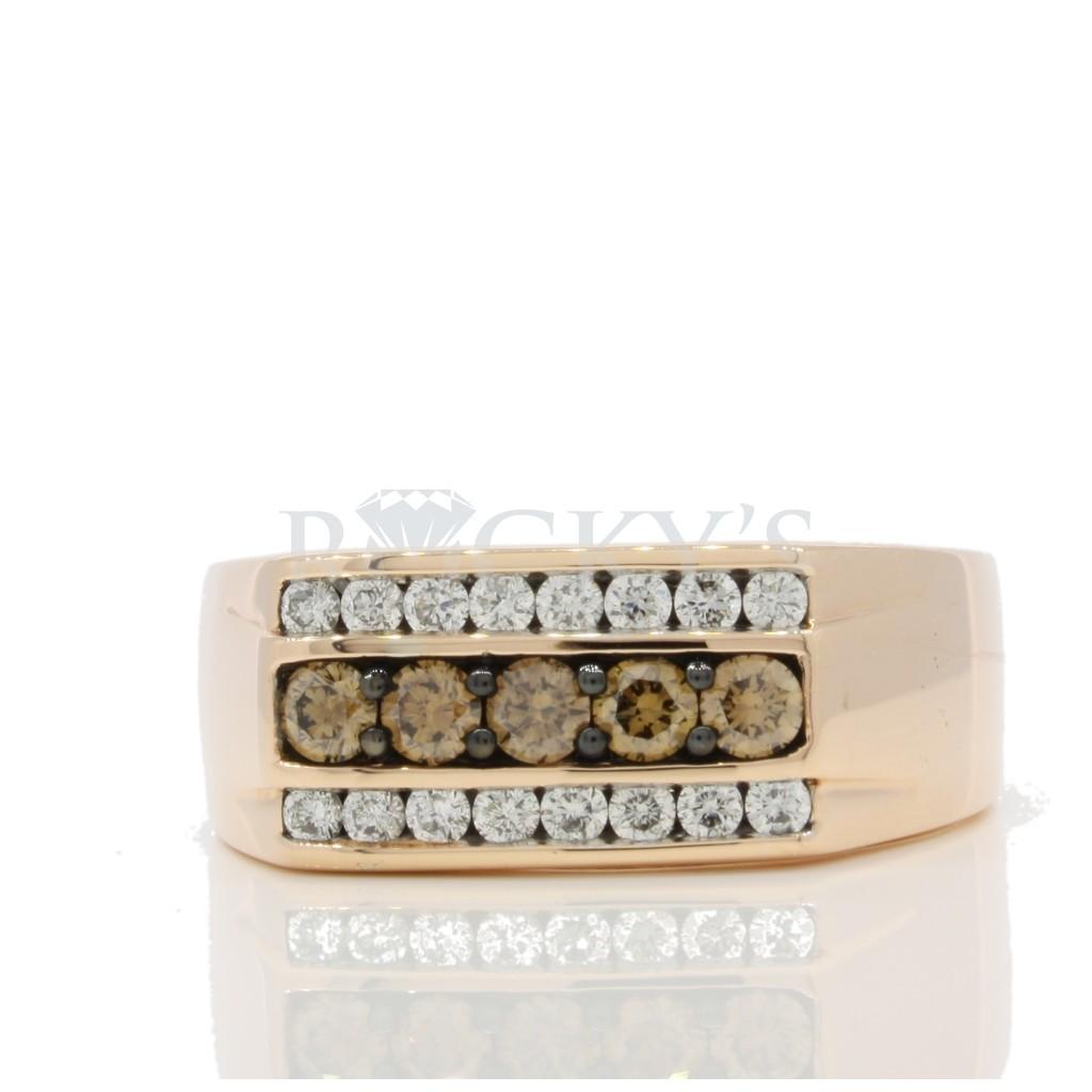Men's Rose Gold Brown Diamond Ring .92 carats