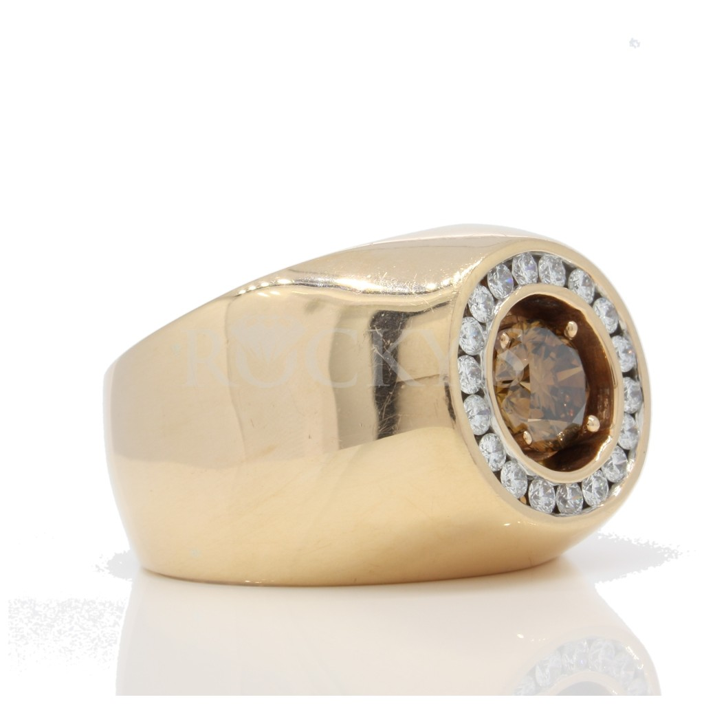 Brown Diamond Solitare Men's Ring 1.68 carats
