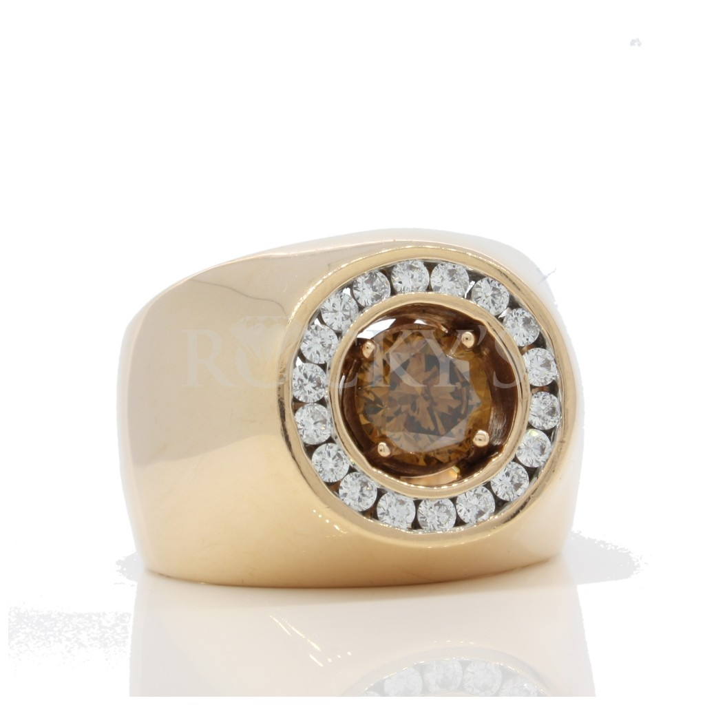 Brown Diamond Solitaire Men's Ring with 1.68 carats