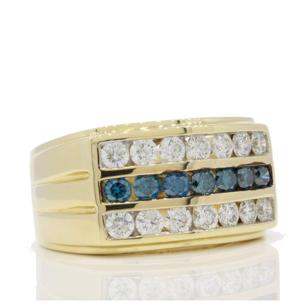 Men's Blue diamond Ring 2.09 cts
