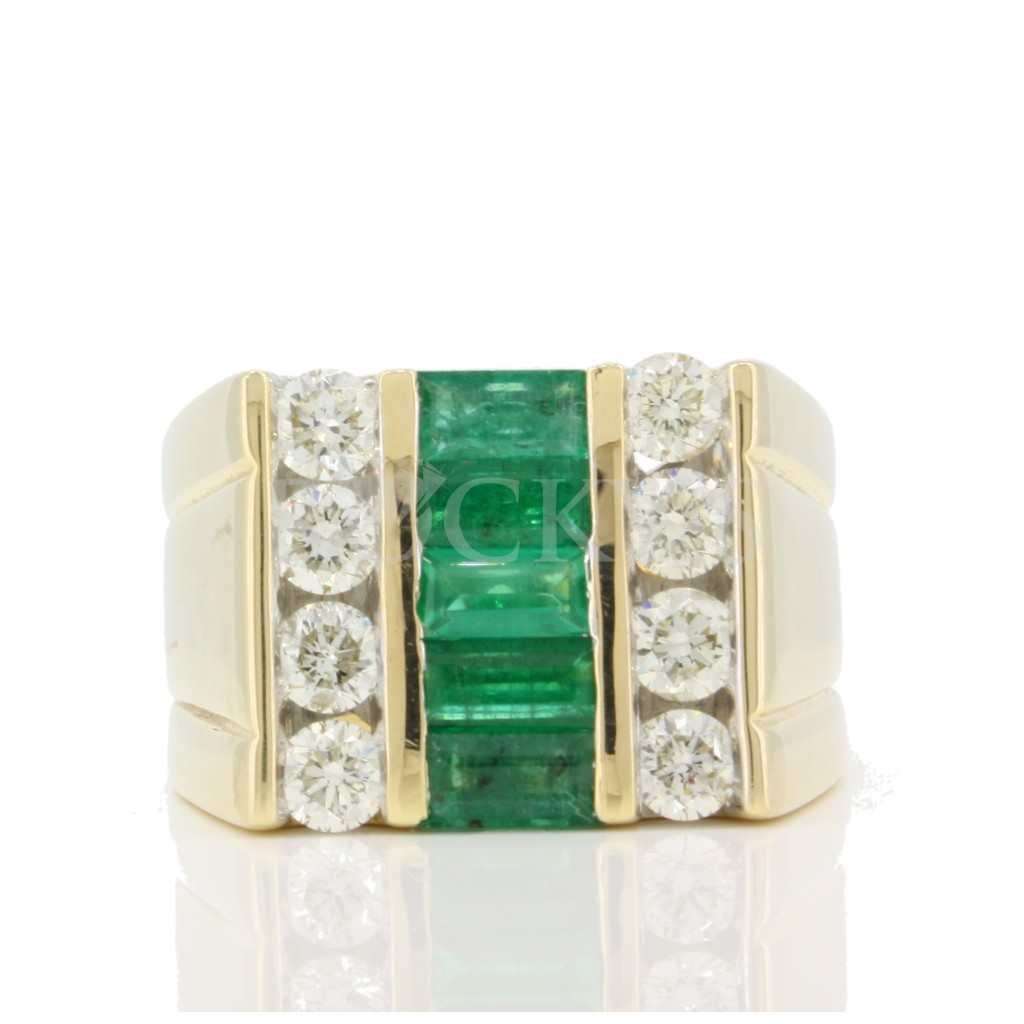 Emerald and Diamond Men's Ring 3.35 carats
